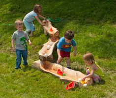 http://adventurouschild.com/water-log-trough.php  Water Log Troughs for outdoor natural water play in young children's outdoor play areas.  #waterplay #preschool
