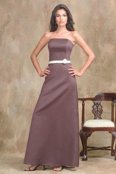 Strapless satin bridesmaid dress with natural waist