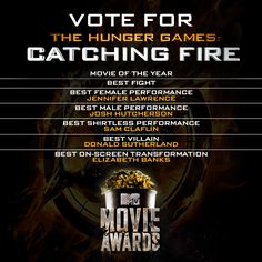 The Hunger Games: Catching Fire has 7 MTV Movie Award nominations! Vote now before the April 13th ceremony: http://hungrgam.es/mma14