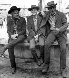 Robert Redford, Katherine Ross, and Paul Newman relaxing on the set of Butch Cassidy and the Sundance Kid.