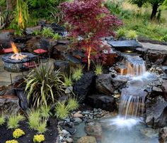Waterfall composition around the outdoor area