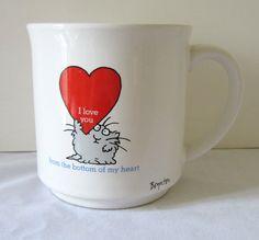 Sandra Boynton Mug - I LOVE YOU From the Bottom of My Heart - Cat with Huge Heart. $16.95, via Etsy.