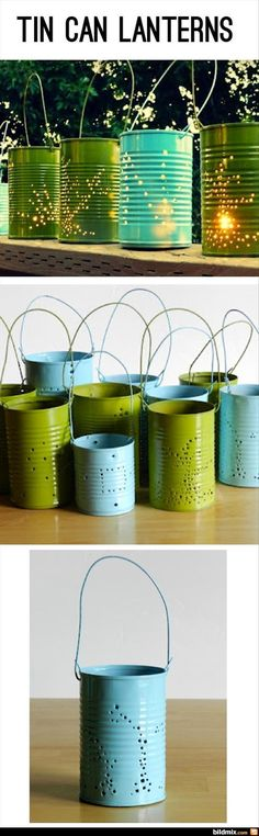 Tin can lanterns made from soup cans, punch the bottom for drainage  and plant strawberries in :) craft, spring colors, grow creativ, outdoor parties, tin cans, tin can lanterns, outdoor candles diy, repurpos tin, hanging citronella candles