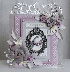 Silver frame - Beautiful mixed media card made with Tim Holtz Baroque frame.
