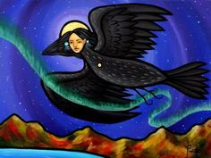 Aaron Paquette paintings | Bearclaw Gallery Edmonton White Raven, Power Animal, Crows Ravens, Bear Claws, Star Art, Divine Feminine, First Nations, Disney Characters, Fictional Characters