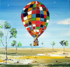 Hot air Balloon Painting Original acrylic painting, kids room painting, wall art, colorful art, art on canvas, small painting, cool painting, modern painting, australian painting, home decor, wall art, interior design, room idea, by Borettoart, $286.00 Easter Paintings, Small Paintings, Original Paintings, Balloon Painting, Acrylic Painting Canvas, Canvas Art, Painting Tips, Burning Man Art, Australian Painting