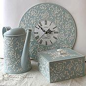 """Купить Набор """"Весенний букет"""" - бежевый, часы, часы декупаж, набор для гостинной, набор для спальни"""