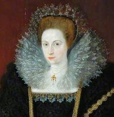 Starches were often tinted, although it is quite difficult to judge the effect in portraits. In the case of this lady's ruff the tinting is obvious.