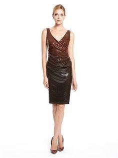 Ombre Sequin Cocktail Dress, Donna Karan
