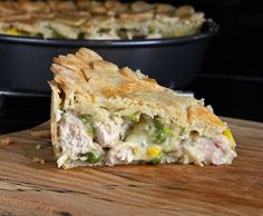 Chicken & Tarragon Pie (gluten free) >>>> I've made this pie a few times now and we love it in our house. The pastry is my favourite gluten free almond pastry, which gives a crisp, short case to the generous, moist, meaty filling. Succulent pieces of chicken breast and little bites of salty bacon mingle with the sweetness of peas and sweetcorn, the aromatic aniseed-flavour of fresh tarragon and a perfectly-seasoned cheese sauce.