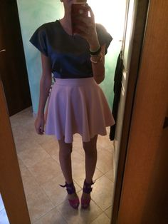 Pink skirt and grey t-shirt Made by me
