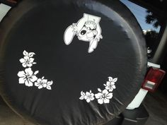 JEEP WRANGLER DISNEY STITCH & HIBISCUS HAWAIIAN FLOWERS SPARE TIRE COVER LARGE