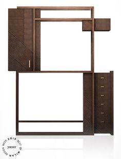 HAMPTON cabinet(oak and burnished metal) byHangar Design GroupforRossato.