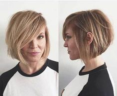 Layered Short Side Parted Bob