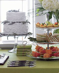 Tower of goodies and beautiful cake