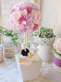 ピンクバラのトピアリー