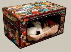 Dog bed from a trunk, you can never go wrong with this idea if you frubaby enjoys their own space keep it closed and use the top for storage space, and if they choose open areas just flip the lid open and add pockets for storage for all the treats and toys your doggie enjoys!! Remember the wheels!!