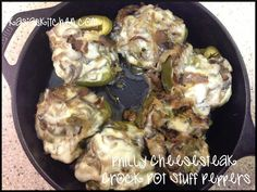 Philly Cheese Steak Stuffed Peppers in the crock pot