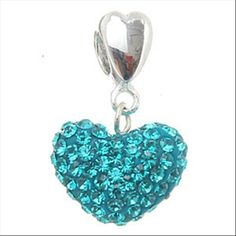 Dangle Heart with Blue Crystal 925 Sterling Silver Core Beads Pandora Beads, Pandora Bracelet Charms, Charm Bracelets, Aqua, Teal, Turquoise, Hart Pattern, Women's Jewelry, Jewellery