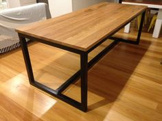Blackbutt Dining Table #handmade #local #timber #blackbutt #steel Recycled Timber Furniture, Custom Made Furniture, Dining Table, Steel, Handmade, Home Decor, Hand Made, Decoration Home, Room Decor