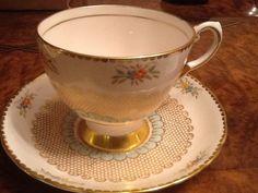 RARE Antique  Tuscan Fine English Bone China pink/gold /blueTea Cup & Saucer #Tuscan