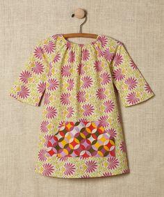 Green & Pink Brocade Three-Quarter Sleeve Dress - Toddler & Girls