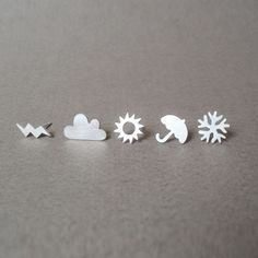 Sterling silver weather forecast ear studs (1 pair), handmade in Cornwall by Contemporary Designer Jewellery via Folksy, £26.00
