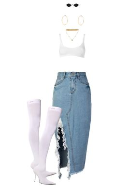 A fashion look from October 2017 featuring slit skirt, lingerie bra and thigh high heel boots. Browse and shop related looks. Fancy Casual Outfits, Crazy Outfits, Chic Outfits, Fashion Outfits, Womens Fashion, Moda Polyvore, Daily Fashion, Dress To Impress, Polyvore Fashion