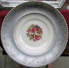 Limoges China Plate 22kt Warranted White Gold Mounted in Farberware Bowl #Lamoges