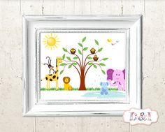 Funny African Wildlife with Lion, Elephant, Giraffe, Monkey, Bird, Butterfly  - Wall Art Print ~ Instant download, JPG PDF Printable