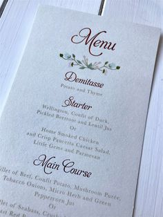 Included in the suite were direction and accommodation cards which sat neatly into the pocket. They opted for additional services including envelope printed, watercolour envelope liners, menus, ceremony booklets, table numbers and a large table plan. Unique Wedding Invitations, Wedding Stationery, Micro Herbs, Green Peppercorn, Smoked Chicken, Large Table, Envelope Liners