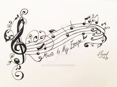 Music Tattoo Commission by Dragonflair on DeviantArt