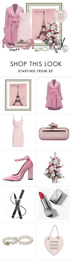 """sweet"" by margo47 ❤ liked on Polyvore featuring Vintage Print Gallery, Hervé Léger, Jimmy Choo, Odette and Burberry"
