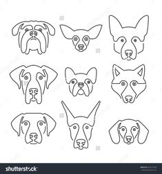 Creative portrait collection of different dog breeds, including german sheepherd, labrador, doberman, husky. Dog faces. Modern illustration of veterinarian clinic, dog breeder logo.