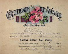 1925 Vintage School Certication of Award by oliverandlizzie, $15.00