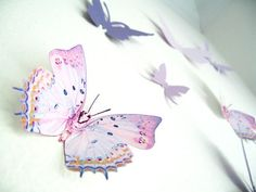 16 3D Wall Butterflies, Purple, Violet, Lavender, Butterfly, Paper, Wall Decor,3D, Wedding Decor, Baby Shower, Girls Room, Cardstock.  (On Etsy)