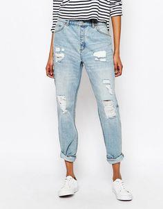 Image 1 ofMonki Distressed Washed Boyfriend Jeans