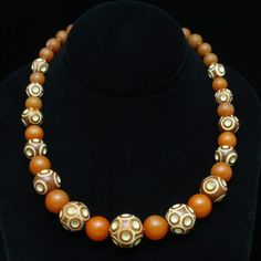 Art Deco Necklace Carved Galalith Beads Graduating Sizes Vintage $159