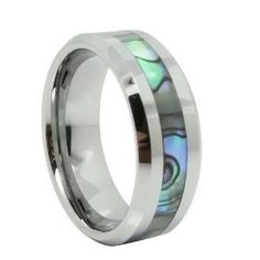 Wedding Gift:8mm Comfort Fit High Polish Tungsten Carbide Ring Men's Aniversary/engagement/wedding Band with Abalone Inlay