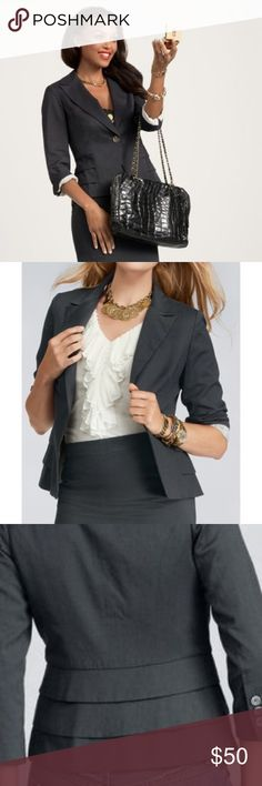 Cabi Grey Peplum ruffle blazer CAbi charcoal colored Blazer, in excellent condition. Has the cutest Ruffle detail in back! Vet flattering and perfect for the office! Size 8. Color is a gray / charcoal color and has a little bit of a blue undertone. CAbi Jackets & Coats Blazers