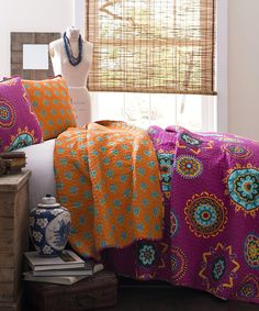 Fuchsia Adrianne Quilt Set | Daily deals for moms, babies and kids