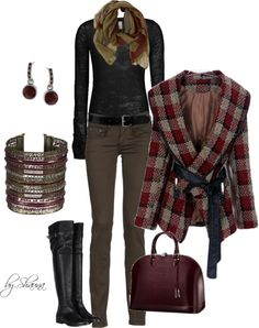"""""""tweed plaid jacket and black riding boots"""" by shauna-rogers ❤ liked on Polyvore"""