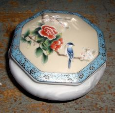 Vintage Trinket Box Porcelain Bird & Flowers by TheBackShak, $8.00