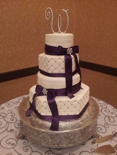 Stunning purple diamond cake by Party Delights    #DBBridalStyle