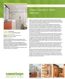 Coverings 2013 PROJECT: Green Gold Project - Residential Remodel. Green Condo in Palm Springs submitted by organicARCHITECT