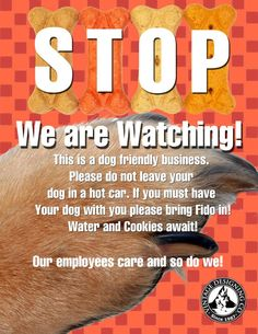 Please pass this on to any store that wishes to be dog friendly!  Don't leave kids or animals in hot cars!