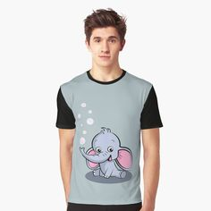 'Cute Baby Elephant' Graphic T-Shirt by duyvolap Cute Baby Elephant, Cute Babies, Tank Man, Printed, Awesome, Clothing, People, Mens Tops, T Shirt