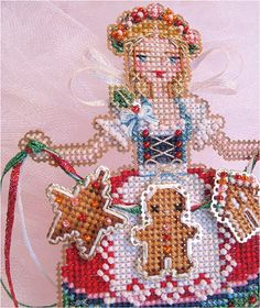 This is for 1 Chart-Only of Brookes Books Stitch-a-Little Gretel The Gingerbread Angel Ornament cross stitch chart by Brooke Nolan    Cross stitch, embroider and bead the motifs on perforated paper. Then cut them out and stack & tack the pieces to create a dimensional ornament. Models were stitched with DMC floss, Kreinik metallic braids & ribbons and Mill Hill seed beads on14 count perforated paper.    Thank you!  Happy Stitching,  Brooke