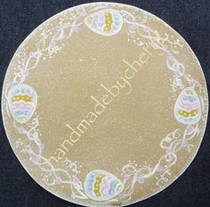 9 Inch Round Handpainted Easter Egg Canvas Candle Mat. $9.00, via Etsy.