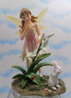 Ceramic Fairy of Young Girl with Rabbit and by PreciousMoments1953